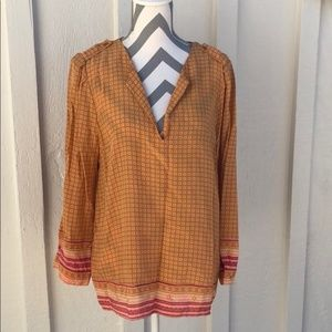 Joie100% Silk Orange Patterned 3/4 Sleeve Blouse
